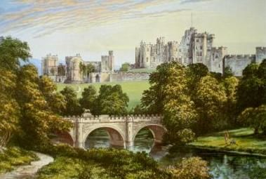 Chromolithograph of Alnwick Castle by Alexander Francis Lydon