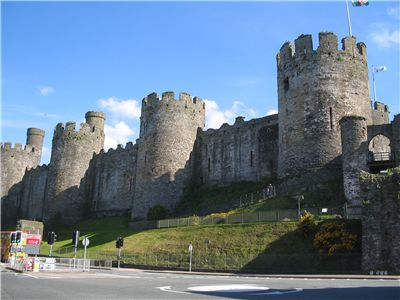 A view of the Conwy castle's massive defensive wall