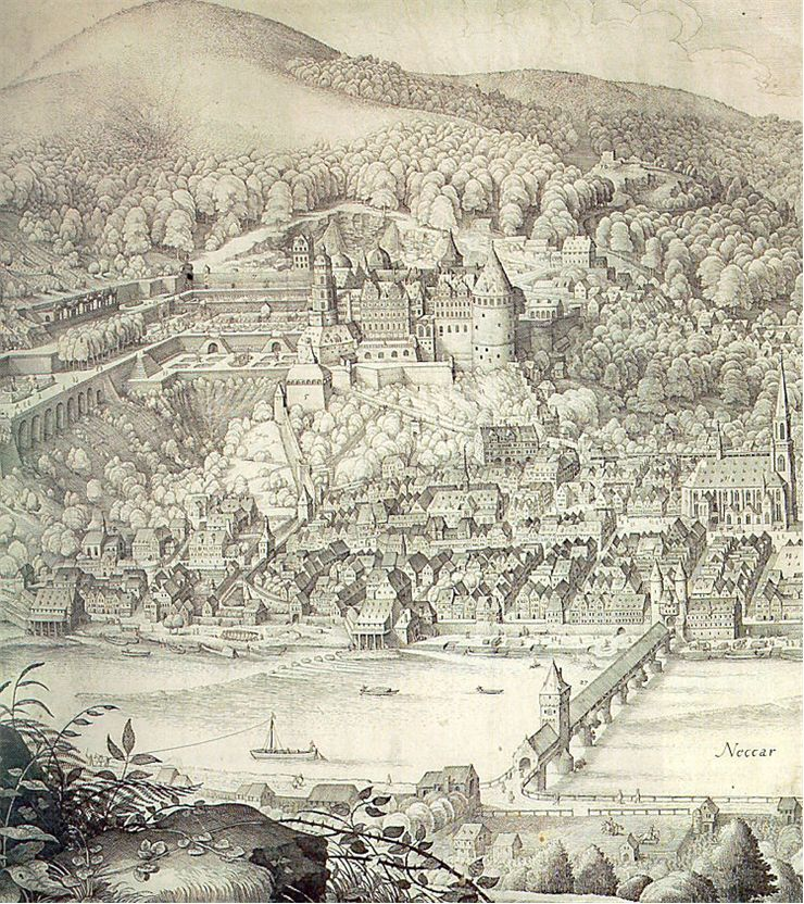 Historic views of Heidelberg castle and and town