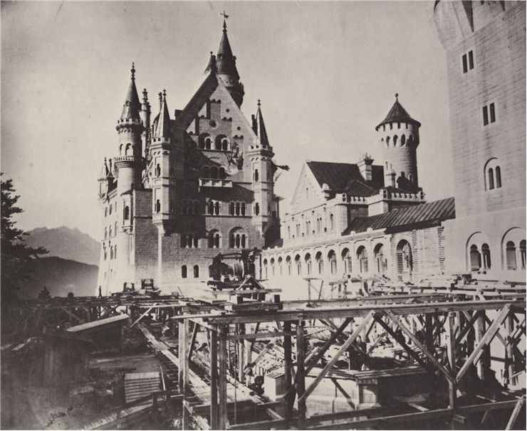 Neuschwanstein castle under construction 1886