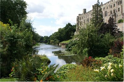 View of Warwick Castle from The Mill Garden