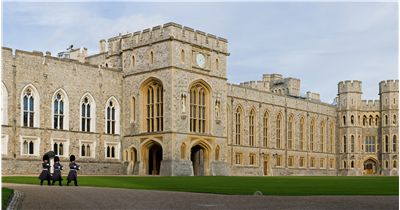 Panoramic view of Windsor Castle Upper Ward Quadrangle